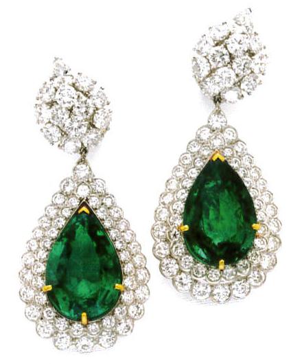 Emerald and diamond earings